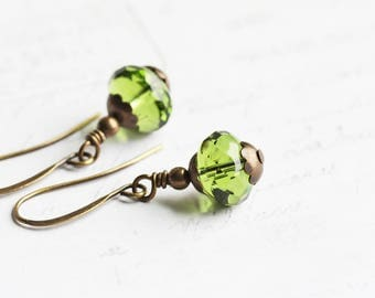 Small Olive Green Dangle Earrings on Antiqued Brass Hooks, Czech Glass Jewelry