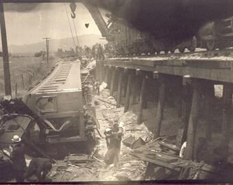 TRAIN CRASH DERAILED Cars In Accident Photo Postcard circa 1908