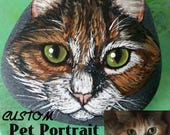 Custom PET PORTRAITS, Hand Painted Stones, Dog Portrait, Animal Rocks, Cat Painting Beach Stone ART, Memory Stones, Pet Lovers Gifts