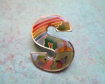 "Rainbow ""S"" Initial Letter Vintage Enamel Pin"