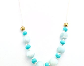 Modern Pastel Beaded Amazonite, Hematite & Turquoise Glass Knotted Leather Necklace
