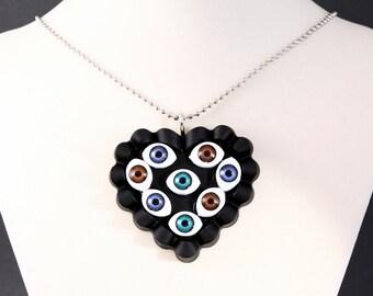EVIL EYE NECKLACE Handmade Pastel Goth Black Heart Horror Gothic Jewelry
