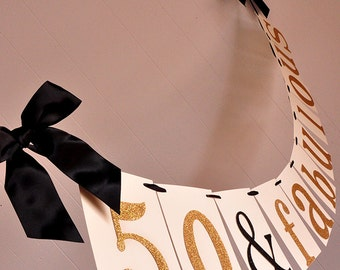 50th Birthday Decoration.  Handcrafted in 2-3 Business Days.  50 & Fabulous Banner.