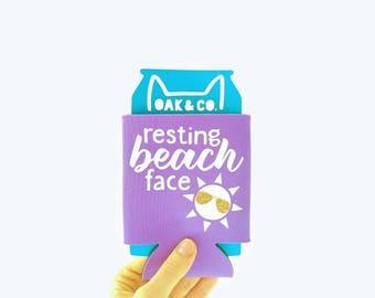 Resting Beach Face // Beach // Summer // Can Cooler