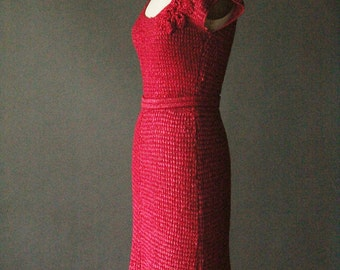 Vintage 40's Red Cranberry Hourglass Crochet Ribbon Dress with Original Belt