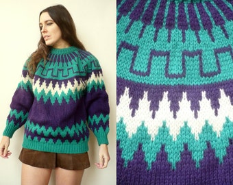 1970's Vintage Greek Abstract Pattern Knitted Snowflake Jumper