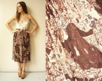 Vintage Indian Hippie Crinkle Gauze Sheer Gypsy Tie Waist Midi Skirt Size M/L