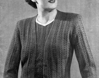 1940s Plus Size Lace Twin Set 40 to 42 Bust Sirdar 1121 Vintage Knitting Pattern Download