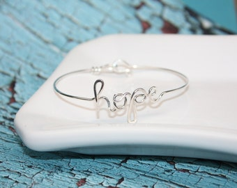 Custom Word Bangle - Silver, Gold or Copper