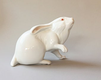 White Porcelain Bunny Rabbit Figurine Herend Bunny Figurine Collectible