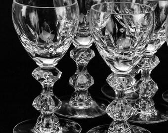Tiffin Crystal Stemware 4 Crystal Cordial Glasses Liqueur Glasses