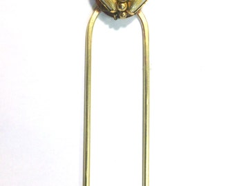 Hand forged Brass Hair Pin with Vintage Pearl Embellishment