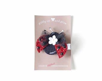 Felt Hair Clip - Summer Ladybug Hair Clip with no slip grip, giddyupandgrow