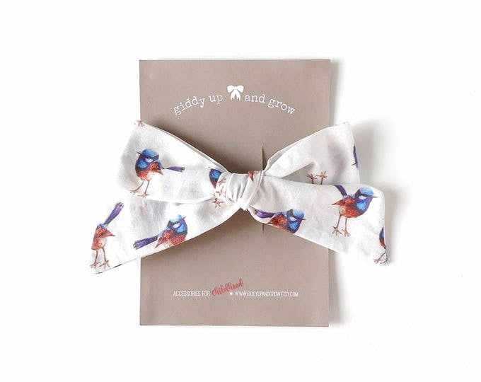 Featured listing image: Oversize Summer Bow French Barrette in Blue Wren Print, Schoolgirl Bow, giddyupandgrow