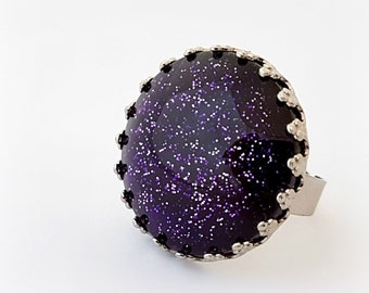 Purple ring, gothic jewelry, glitter adjustable ring, gift for her