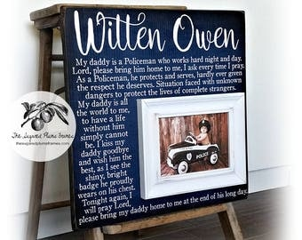 Fathers Day Gift, Police Officer Gifts, Police Baby Frame, Fathers Day Frame, Baby Shower Gift, 16x16 The Sugared Plums Frames