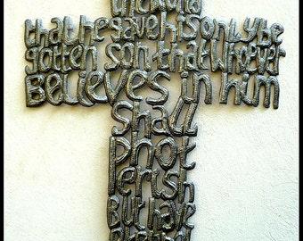 "Metal Cross Wall Hanging, 25"" - Bible Scripture - Christian Cross Wall Decor - Decorative Cross - Christian Wall Decor - John 3:16, 761"