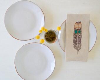 White Stoneware Plate Set, Handmade Stoneware Dinnerware,Exposed Edge Dinnerware, Organic Dinnerware Set, Set of 4, READY TO SHIP