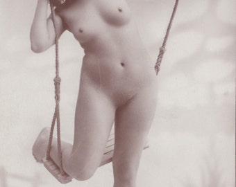 Playful Nude on Swing, Risque Postcard, circa 1910s