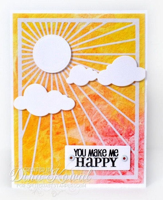 Handmade Card - You Make Me Happy - sunburst
