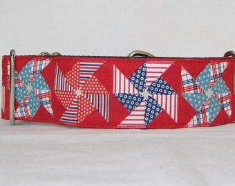Pinwheel Martingale Dog Collar - 1.5 or 2 Inch -red white blue teal plaid striped polka dot fun