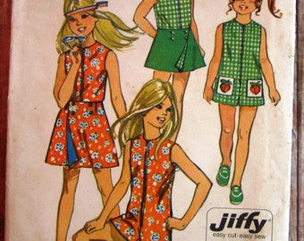 Vintage 1960s Easy Sew Girls Pantdress and Reversible Front-Wrap Skirt Size 7 Jiffy Simplicity Pattern 9440 Cut/Complete