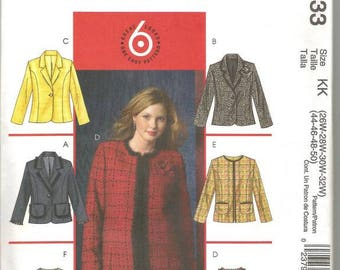 Plus Size Women's Lined Jackets Six Styles McCall's 4933 Size 26W - 32W Bust 48 - 54 Women's Sewing Pattern