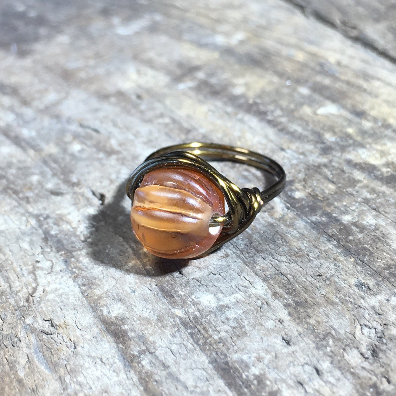 light brown glass ring - size 6.25 , 6 1/4 - tan bead ring / brass ...