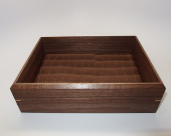 "Leather Walnut Wooden Tray. Leather Upholstered. 9"" x 6.75"" x 2.5"". Watch Tray."