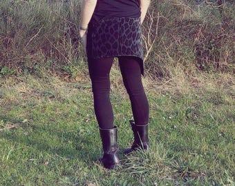 Asymmetrical miniskirt - Velvet skirt with yoke - Spotted Grayblue Velvet