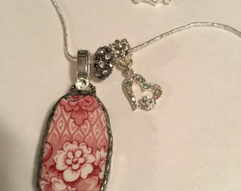 """25% Off Sale Handcrafted """"Broken China"""" Vintage Pendant Necklace/Free Shipping"""