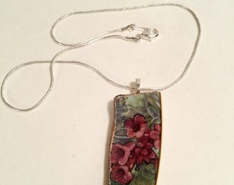 """25% Off Sale Handcrafted """"Broken China"""" Vintage  Wings of enchantment foxgloves Pendant Necklace/Free Shipping"""