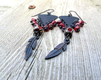 Black Feather Chandelier Earrings, Bohemian Chandeliers, Triangle Dangles, Black and Red, Czech Glass Jewellery, Festival Fashion
