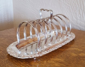 Toast Rack with Tray Silver Plate - Letter Holder - Oak Hill Vintage