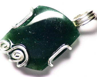 Green Agate Necklace, Mtorolite Jewelry, Chrome Chalcedony Pendant, Sterling Silver, Natural & Untreated Emerald Green Agate from Zimbabwe!