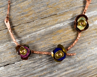 Recaimed Copper and Enameled Flower Necklace - Reclamied Copper and Fire Torched Yellow, Blue, Pink Enamel Formed & Layered Flower Necklace