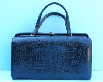 Vintage 1950's/Navy Blue Snakeskin Leather Purse Handbag/Joseph/50's Navy Leather Handbag/50's Blue Leather Purse/Top Handle Purse