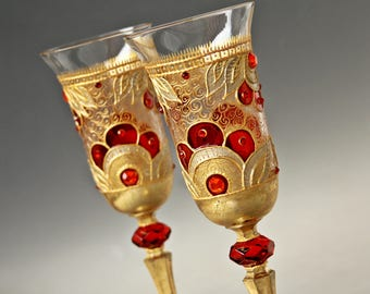 Champagne Glasses, Wine Glasses, Wedding Glasses, Crystal Glasses, Hand Painted, Gold Red Wedding Glasses, set of 2