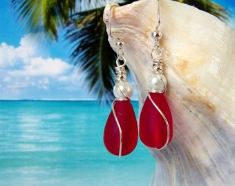 Red teardrop seaglass beads white pearl wire wrapped earrings beach tumbled glass earrings