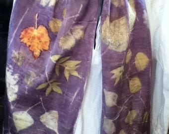 shimmery charmeuse SILK eco print scarf overlaid with logwood 14 x 72