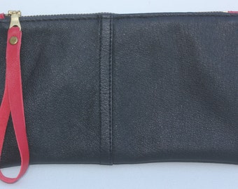 Black and Red  Leather Wristlet Clutch Bag