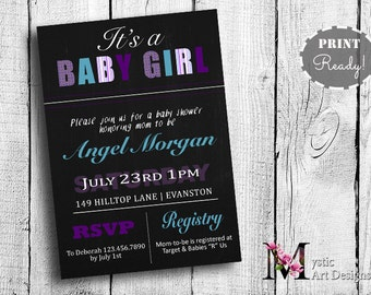 Purple & Teal Chalkboard baby shower invitation, printable, customized, Its A Girl