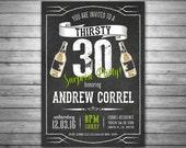SALE 30th Birthday Invitation, Thirsty Thirty Birthday Invitation, Milestone Invitation, Beers and Cheers Invitation, Mens Birthday