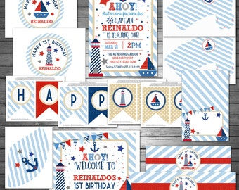 Nautical Birthday Party Package, Printable File, Sailboat Birthday, Nautical Party, Lighthouse Invitation, Nautical Party Decor, Pool Party