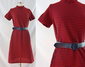SALE Vintage Sixties Dress - 1960s Red and Blue Mod Dress - 60s Mod Shift Dress - Medium Belted Dress