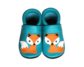 Leather Baby Booties, Baby Shoes, Fox Infant Newborn Nursery Children Orange Turquoise