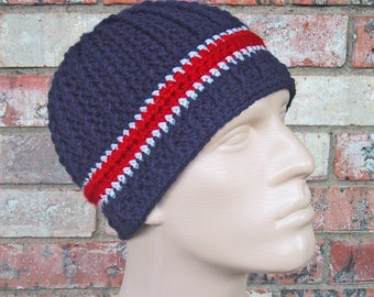 Beanie in Team Colors - Patriots - Navy/Silver Grey/Red Colors - Mens Size M/L - Hand Crocheted Soft Acrylic Yarn - Warm Winter - Nice Gift