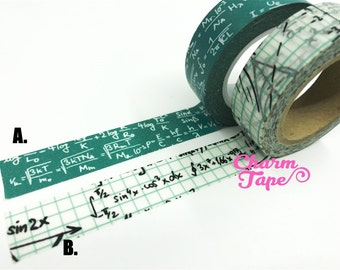 GREEN ALGEBRA Washi Tape 15mm x 10 meters WT54 WT115