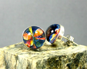 Rainbow Glass Earring Studs - Boro Lampwork and Sterling Silver - 10mm Post