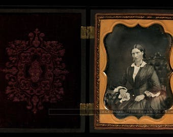 RESERVED / Do Not Buy // Woman Holding Handkerchief Late Mourning? In A+ 1/4 Union Case